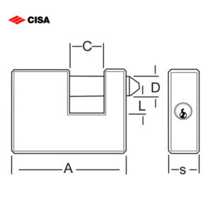 CISA Slide Bolt Brass Padlock 26509-77