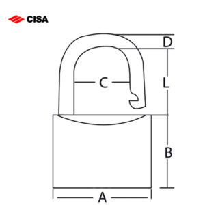 CISA Stainless Steel Shackle Brass Padlock 22019-30