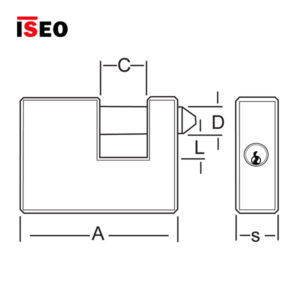 ISEO Armoured Rectangular Brass Padlocks 809909