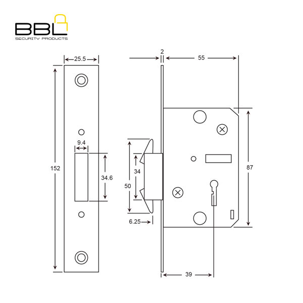 BBL 4 Lever Narrow Style Gate Lock BBL31355SS B
