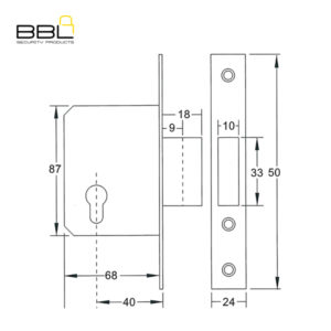 BBL 40MM Deadlock Cylinder Gate Lock BBL911240-1