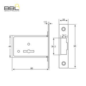 BBL BBLN302 6 Lever Deadbolt Gate Lock BBLN302