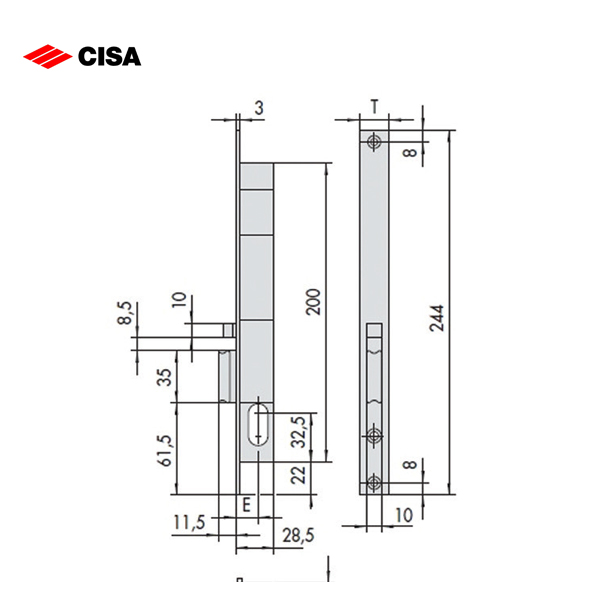 CISA Narrow Stile Deadlocking Latch Electric Lock 14021-15-1