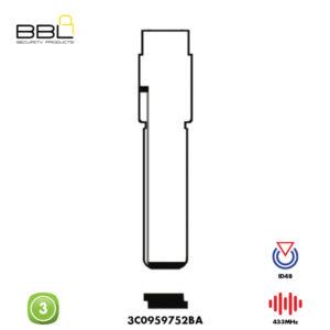 BBL Remote VW Shape 3 Button REMC-VW-08